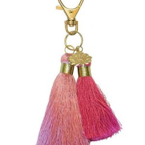 deep rose/rich pink double tassel
