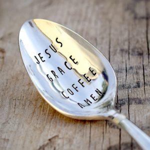 Jesue Grace Coffee Amen Stamped Teaspoon