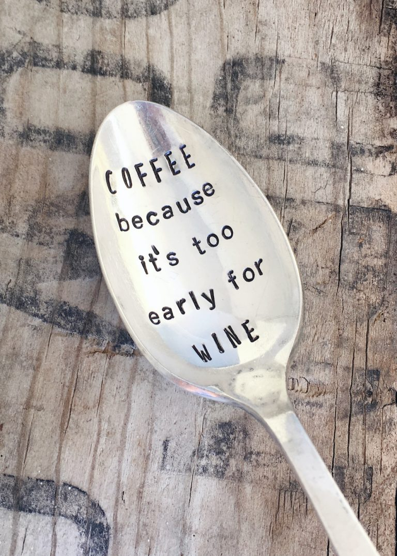 Wine Drinker Gift- Stamped Spoon